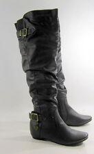 """new Dark Brown 1.5""""Hidden Wedge Heel Round Toe Sexy Over Knee Boot Size 9"""