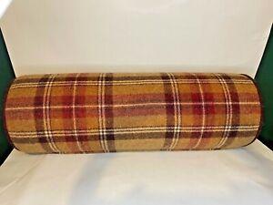 warm autumn colours vintage tartan bolster cushion pillow