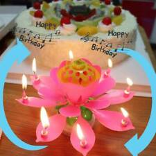 ROTATING Lotus Candle Birthday Flower Musical Floral Cake Candles /w Music Magic