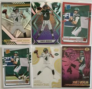 JAMES MORGAN (NEW YORK JETS) 2020 NFL PANINI 6 ROOKIE CARD LOT [PARALLELS]