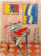 """Dimitris C. Milionis """"RED ROOM III"""" Colored Drawing Still Life Paper Greek 2002"""
