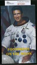 JIM IRWIN JSA COA HAND SIGNED MOON PAMPHLET AUTHENTICATED AUTOGRAPH