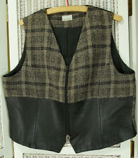 "MICHEL AMBERS Vintage Waistcoat 46"" Chest Woven Wool Blend + Faux Leather Vest"