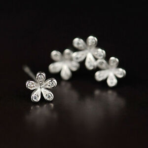 925 Silver Plated Fashion Earing Three Flower Ear Stud  Ear Jacket Post Stud Ear