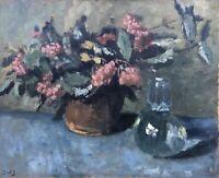 Ölgemälde Erik William Johnsen 1886-1948 Stillleben Blumen Wasser Karaffe