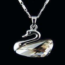 18k white Gold GF Swan Diamond simulant pendant necklace A+