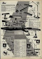 1957 PAPER AD Flexo Industial Lighting Desk Lamp Flexarm Litemaster Sightmaster