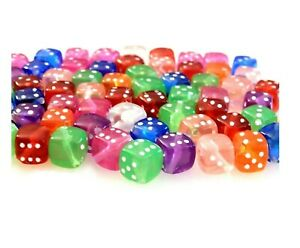 100 Assorted Transparent Color White Dots 8mm Dice Cube Kids Acrylic Craft Beads