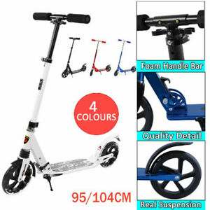 Folding Scooter Bike Big Wheel Scooter W/ Suspension Adult  With Grips