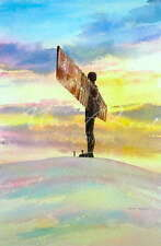 "ORIGINALE ALAN Reed Acquerello ""Angel of the North, inverni SUNSET"" PITTURA"
