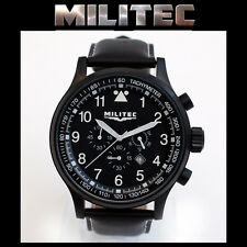 MILITEC Pilot Chronometer Military/Army Watch Black PVD 100m Water Resist PC-001