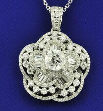 Lotus flower pendant 2.70 ct baguette 18k Solid White gold Natural Diamond