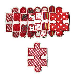 Puzzleteil zum aufbügeln 1 Aufnäher #31 RR# Neu Applikation Flicken rot Puzzle
