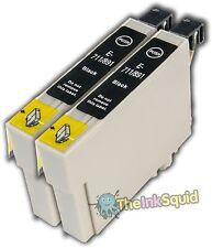 2 T0711 Noir Cartouches d'encre Guépard (non-OEM) Fits Epson Stylus D120 wifi / net