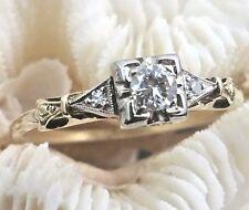 Vintage 14 Karat Gold Art Deco Era VVS2 G-H 1/4 Carat Diamond Engagement Ring