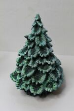 """Small Vintage Ceramic Christmas Tree - 8.5"""" High - Green With Glitter - 1991"""