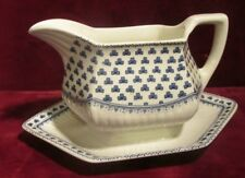 Adams BRENTWOOD Gravy Boat with Attached Underplate Blue & White D220