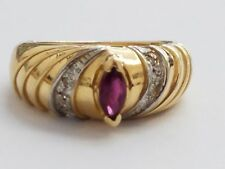 14 KARAT YELLOW GOLD DIAMOND AND AMETHYST RING , SIZE 6.5