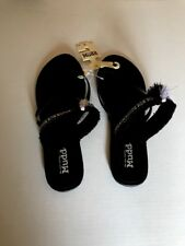 ee69f1c848f New Women s MUDD Sandals Flip Flops Black   White Cross Strap Tassel Size  ...