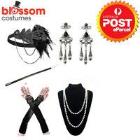 K849 1920's Flapper Charleston Costume Accessory Set 20s Gatsby Headband Gloves