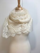 Hand knit ecru cream mohair blend lightweight lace ladder square scarf