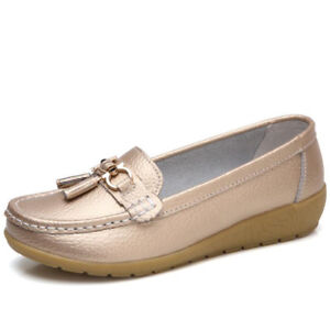 Womens Driving Loafers Moccasin Oxford Leather Loafer Shoes Flat Lazy Slip On Sz