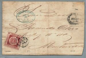 Uruguay frontal cover 15a Salto to Montevideo 30 -7-1864 signed Ciardi