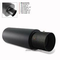 """JDM 4"""" N1 Carbon Fiber Tip Matte Black Muffler 2.5"""" Inlet +Silencer For MAZDA"""