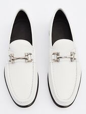 Savatore Ferragamo Men's Mason Textured Calfskin Gancini Loafer, White,MSRP $640