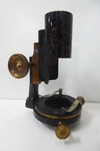 ANTIQUE MICROSCOPE STAGE MOUNT ATTACHMENT/ PART METAL & BRASS