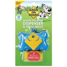 Bags on Board Dog Waste Bag Bone Dispenser with 30 Refill Bags, Yellow Bags