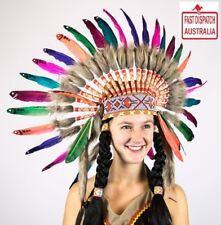 Native American Indian Headdress RAINBOW COLOURED Chief Feather War Bonnet