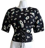 Topshop UK 10 Lace Corset Black Floral Top Open Back Short Sleeve Cotton