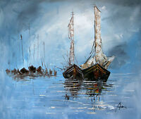100%Hand-painted Art Oil Painting Seascape Salling 16*20inch  Decoration canvas