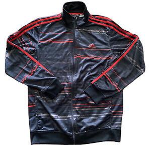 Adidas Men Track Suit Jacket Full Zip Up Lightweight Black Red M