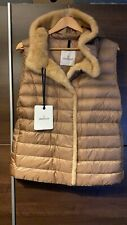 Moncler  Beurre camel fur-trimmed quilted shell gilet 100% Authentic Brand New