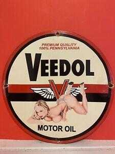 VINTAGE PORCELAIN VEEDOL MOTOR OIL GAS AND OIL SIGN