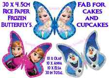 30 EDIBLE FROZEN PRINCESS ELSA ANNA OLAF BUTTERFLY'S CUP CAKE TOPPERS RICE PAPER