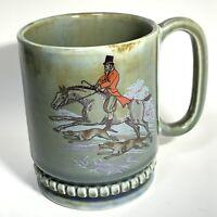 VTG Wade Irish Porcelain FOX HUNT Mug Stein DOGS Horse HOUNDS GREEN Blue IRELAND
