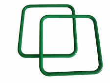 "Pair of 8"" Kelly Green Square Plastic Macrame Craft Handbag Purse Handles"