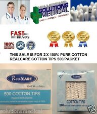 COTTON BUDS TIPS REAL CARE QUALITY 100% PURE COTTON 200/TUB X 2 BOXES