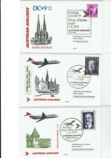 Austrian Airlines 1971-74 First Flight 5 Covers Swissair !