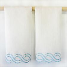 Saro White Embroidered Hand Towels with Swirly Blue Border (set of 2)