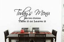 Kitchen Today's Menu Funny Quote Wall Art Vinyl Decal Sticker Home Decor  DIY