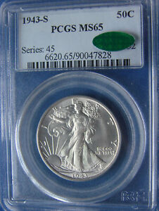 *BEAUTIFUL LOOKING 1943-S WALKING LIBERTY HALF DOLLAR - MS-65 PCGS & CAC*
