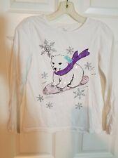 The Children's Place Winter Polar Bear Sequin Long Sleeve T Shirt, Size Xl 14