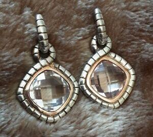 STERLING SILVER 925 &14K ROSE GOLD CHAMPAGNE PINK TOPAZ DROP EARRINGS #619F