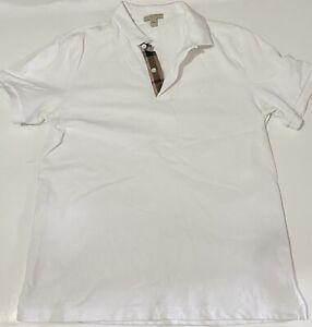 Men's BURBERRY White Polo Shirt Short Sleeve Size L