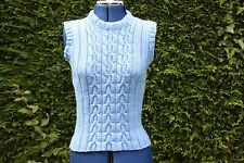 New Hand Knitted blue sleeveless round neck top/slipover cable pattern10 to 12
