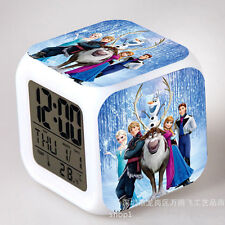 Fun Frozen Figures Color Changing Night Light Alarm Clock Kids Boy Girl Toy Gift